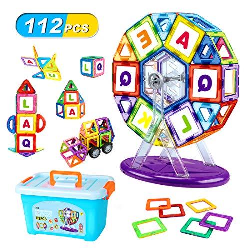 マグネットブロック LBLA 磁石ブロック 子供 マグネットおもちゃ 男の子 女の子 磁気おもちゃ 想像力と創造力を育てる 磁性構築ブロック 子ども 図形 組み立て DIY 知育玩具 出産祝い 贈り物 立体パズル ビルディング積み木 入園 ギフト 磁石おもちゃ 誕生日 プレゼント 112ピース 収納ケース付き