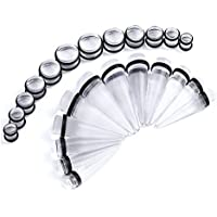 BodyJewelryOnline Clear Big Gauge 00Ga-20Mm Tapers and Plugs Stretching Kit 24 Pieces