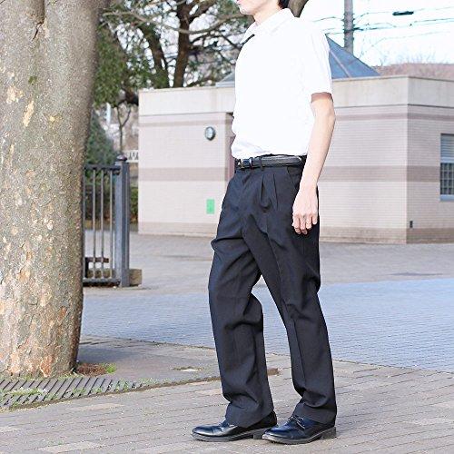 選べる裾上げ済みツータックビジネススラックス 夏物 ブラック (ウエスト94cm, レングス73cm)