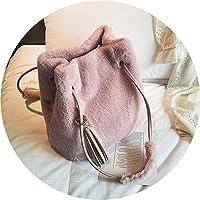 特売!秋冬の毛バッグ 女性メッセンジャーバッグ シンプルなファッションのタッセルバケットバッグ,ピンク,28*28*17cm