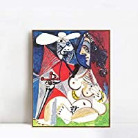"INVIN ART Framed Canvas Art 1970 Le matador et femme nue 2 by Pablo Picasso Wall Art Living Room Home Office Decorations(Champagne Slim Frame,20""x24"")"