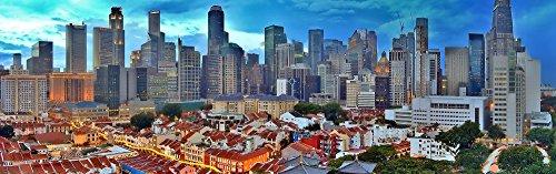 絵画風 壁紙ポスター (はがせるシール式) シンガポール パノラマ 景色 風景 ビル街 住宅街 キャラクロ SGP-009S1 (1843mm×576mm) 建築用壁紙+耐候性塗料