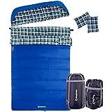 KingCampコットンフランネルAll Season 5F/-15C Sleeping Bag with Pillow (ダブル、大人、ユースサイズ)