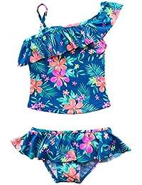 (アルビビ) Alvivi ガールズ水着 タンキニ 子供水着 女の子 ワンピース ビーチ キッズ スイムウェア 花柄 セパレート ストレッチ 可愛い 海