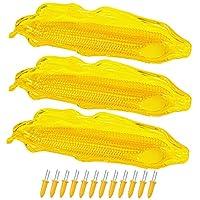 Cooraby 3パック プラスチックコーントレイ トウモロコシ取り用トレイホルダー 12個のステンレススチールトウモロコシホルダー付き トウモロコシの串 コブ食器、合計15個