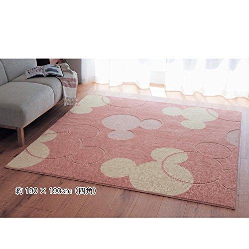 Disney ディズニー  洗える防ダニ加工ラグ ミッキーマウス ピンク サイズ(cm):約190×190(四角)