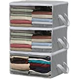 Simple Houseware 3 Pack Foldable Closet Organizer Clothing Storage Box with Clear Window, Grey