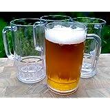 Shatterproof Classic Beer Mug - 16 Ounces Outdoor Beer Mugs (Set of 4)