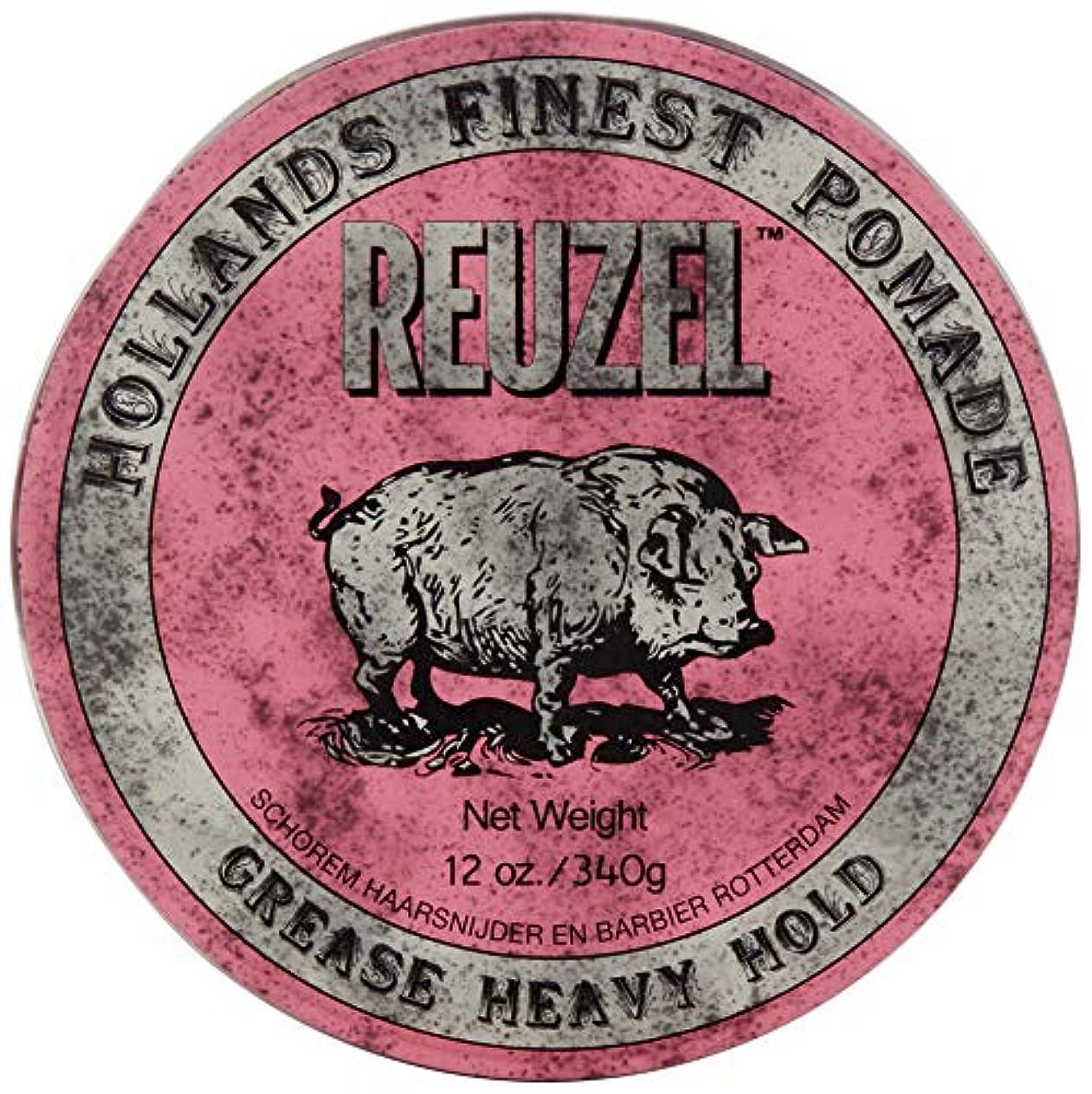 プレゼンテーションサーカスもつれReuzel Pink Grease Heavy Hold Pomade Hog 12oz by REUZEL