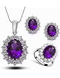 LINSUNG レディースネックダント優雅 ジルコン結晶 お洒落 自用 女性 記念日 プレゼント 贈り物 ネックレスのピアスセット(紫)