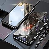 iPhone XS ケース iPhoneX カバー アルミ バンパー 透明 両面 強化ガラス 360°全面保護 アイフォンX/XS カバー マグネット式 ワイヤレス 充電対応 軽量 薄型 擦り傷防止 耐衝撃 ブラック
