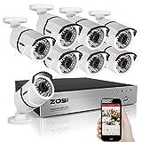 ZOSI 230万画素防犯カメラセット フルハイビジョン 230万画素 防犯カメラ8台 +ミニ 8ch AHDデジタルレコーダー ネットワーク機能 パソコンやスマホ遠隔監視対応 日本語対応 (HDDなし)