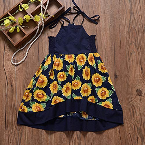 LYSMuch Toddler Baby Girl Summer Dress Princess Halter Sunflower Printed Outfits Kids Clothing (Navy Blue, 6-12 Months)
