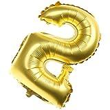 GRALARA数字柄 数字の形状 0-9 アルミ 風船 バルーン 誕生日 記念日 パーティー 装飾 全2色10パターン - ゴールデン, 2