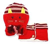 SHINA 秋と冬の赤ちゃんの帽子 選べるカラー 6色 1-2-3歳の子供 猫耳キャップ目出し帽 (レッド)