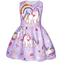AmzBarley Girls Unicorn Costume Rainbow Dress Princess Birthday Party Casual Clothes Sleeveless