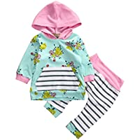 Aliven Girls' Long Sleeve Floral Hooded Tops + Striped Pants Clothes Outfit Set
