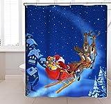 CHUN YI バスルームおしゃれ・ クリスマス雰囲気 ・防水防カビシャワーカーテン 180*180cm (4鹿)