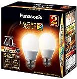 パナソニック LED電球 口金直径26mm プレミアX 電球40形相当 電球色相当(4.9W) 一般電球 全方向タイプ 2個入り 密閉器具対応 LDA5LDGSZ42T