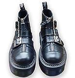 (プチプライム) Petit Prime フロントジッパー 3ベルト ロック マーチン 厚底 ラバーソール ショート ブーツ ブラック 23.0cm