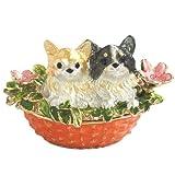 クリスタルジュエリーボックスのトップブランド ピィアース < フレンズちわわ > ピィアース 宝石箱 ジュエリーボックス 花かごから顔を出した子犬がとっても可愛い インテリア雑貨 ex509-1 ex509 【ピィアース直営ショップ】