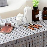 テーブルクロス防塵洗える長方形の綿とリネンのテーブルクロス反しわテーブルクロスの家の装飾レストラン、中庭、カフェ、パーティーやピクニック, H, 135X180cm