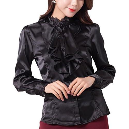 (リザウンド) ReSOUND レディース 立ち襟 リボン ブラウス シャツ ドレス ブラック M おしゃれ オフィス 刺繍 長袖 フリル ひらひら カットワーク レース シャツ フォーマル 大きいサイズ リボン シフォン 開襟 形状安定 黒 M 420