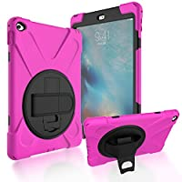 iPad Air 2/iPad 6 Back Case, DIGIC Hybrid PC Silicone Armor Defender Cover with Hand Strap 360 Degree Rotation Stander Full Protective Tablet Shell for Apple iPad Air 2/iPad 6, Rose