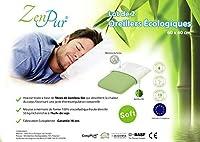 ZenPur 2パック低反発枕60 x 40 cmソフト - 100%粘弾性 - オーガニック竹カバー付き - 整形外科枕 - Oeko-Tex Standard 100 - アレルギー枕 - クッションしっかりした首枕