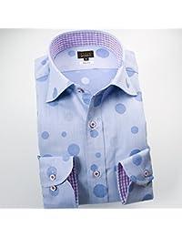 (スタイルワークス) メンズ長袖ワイシャツ ワイドカラー | 青