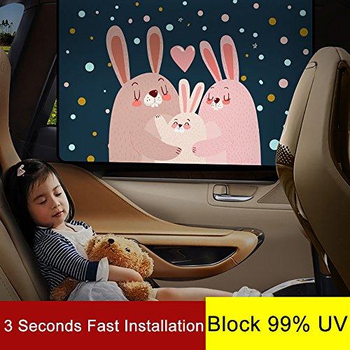 車用遮光サンシェード 78cm × 50cm車の窓枠にフィットするサンシェードプロテクター 車の日よけ あなたの子供のための最大限紫外線UVカット (A4 後部窓)