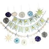 Perfeclan ベビーシャワー 幸せ 100日 赤ちゃん 装飾セット ぶら下げ パーティー用 バナー 9角星 ペーパーフラワーボール 2タイプ選べ - 青