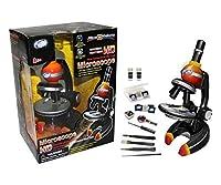 マイクロサイエンス92012 150/350/750 / 1250X HD新世代ダイカスト顕微鏡、イエロー/レッド
