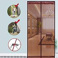 Velcro 磁気スクリーン ドア,ヘビーデューティ メッシュ カーテン 完全なフレーム 防蚊 新鮮な空気を入れなさい 高密度 防蚊ネット-E 130x210cm(51x83inch)