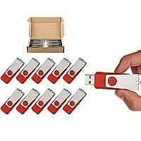 TOPSELL 10 Pack 8GB Swivel Design USB 2.0 Flash Drive Memory Stick Fold Storage Thumb Stick Pen (8G, 10 PCS, Red) [並行輸入品]