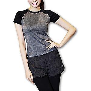 GiGant (ギグアント) バイカラー プレミアム ヨガ Tシャツ 伸縮 ストレッチ ラグラン シャツ レディース フィットネスシャツ