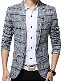 (ドチィン) DaoCheng メンズ 春 秋 ジャケット ショート丈 スリム テーラード ジャケット チェック柄 スーツジャケット 大人 ビジネス 通勤 カジュアル 人気