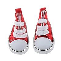 SONONIA 2足 1/4 BJD人形用 靴 キャンバス スポーツ シューズ 贈り物 赤と白
