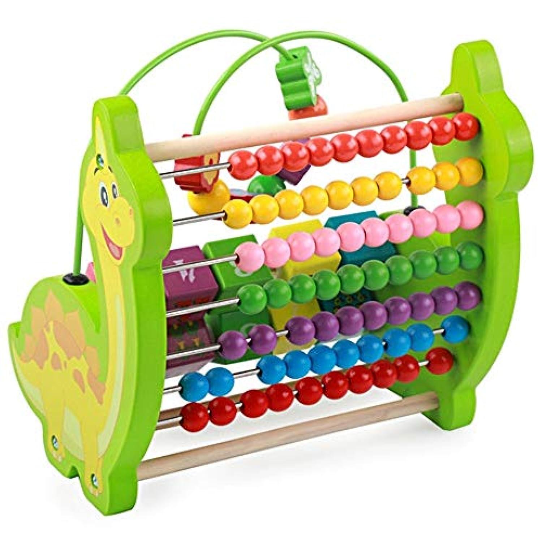 幼児期のゲーム 多機能恐竜ビーズの計算フレーム子供の教育ビーズのおもちゃ(緑)