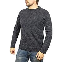 Boutique Retailer Men's Shetland Wool Crew Neck Cardigan Sweater Knitted Jumper Pullover (XXXXX-Large, Navy)