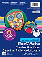 Pacon SunWorks Construction Paper, 9-Inches by 12-Inches, 500-Count, Assorted (CON01500) by Pacon