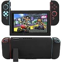 Nintendo Switch専用 全面保護ケース カバー 衝撃吸収 擦り傷防止 ソフトケース (取り外し可能な, ブラック)