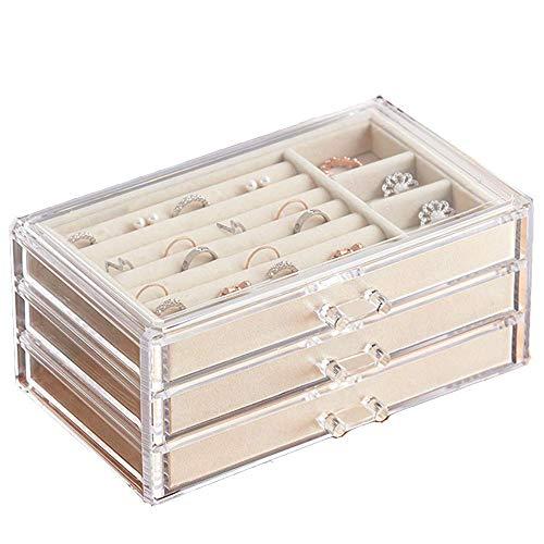 ジュエリーボックス 宝石箱 アクセサリーケース ネックレス 指輪 ピアス 3段3杯引 内側 ベルベット 透明アクリル製 贈り物 プレゼント ベージュ色
