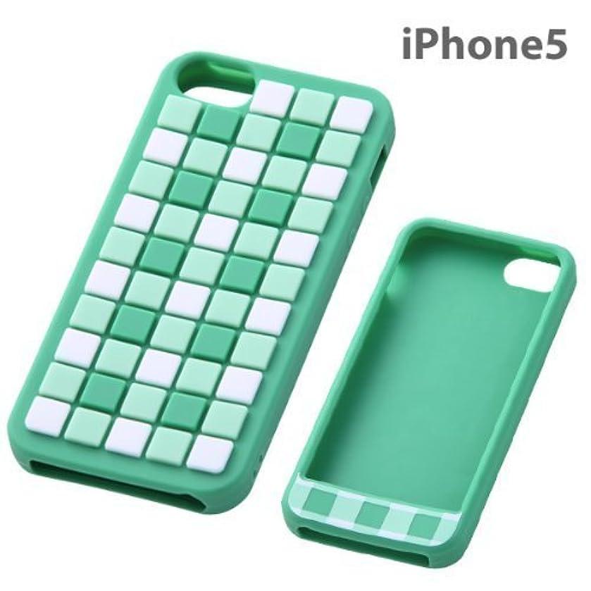 取得リゾートトランスミッションレイ?アウト iPhone5 ケース デザイン?シリコンジャケット/チェックグリーン RT-P5C12/CG