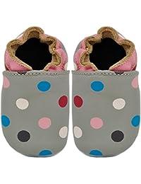 Kimi + Kai Kids Soft Sole Leather Crib Bootie Shoes - Pretty Dots