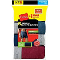 Hanes Men's Tagless Boxer Briefs with Comfort Flex Waistband 6-Pack (Includes 1 Free Bonus Boxer Brief) - Limited Time Offer, 7349Z6