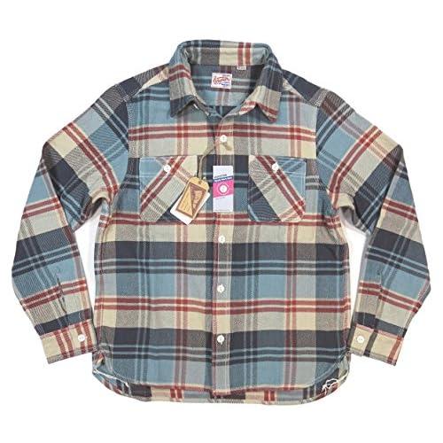 (ヒューストン)HOUSTON マチ付 長袖 チェック ヘビーネルシャツ 40120 M LBLUE×GRAY(ライトブルー×グレー系)