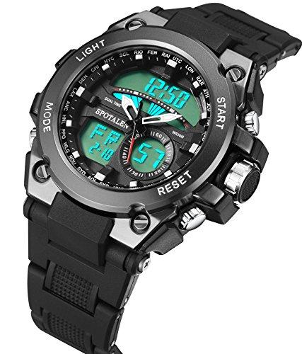 SPOTALEN 軍事腕時計 アナデジ表示 メンズ ウォッチ ブラック