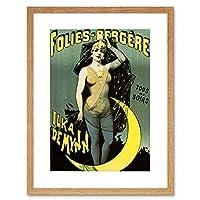 Advert Theatre Cabaret Ilka De Mynn Moon Dance Framed Wall Art Print 広告劇場月ダンス壁