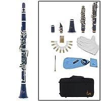 Rakuby ABS &キュプロニッケルメッキニッケル 初心者11点入門セット セッ クラリネット ソプラノ 17キー B♭フラット ABS 10リード 管楽器